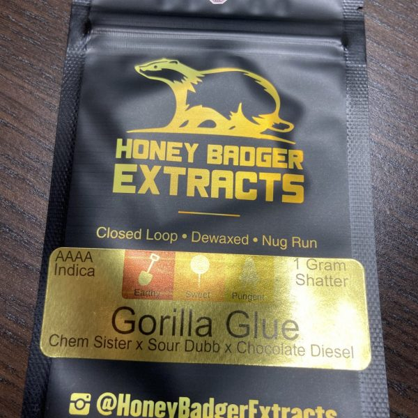 Gorilla Glue Shatter | Honey Badger Extracts