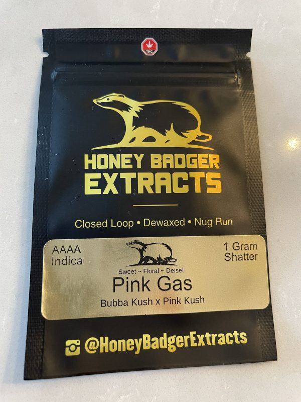 Pink Gas Shatter   Honey Badger Extracts